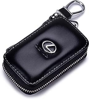 QZS Black Leather Car Key Case Coin Holder Zipper Remote Wallet Key Chain Bag (Leuxs)