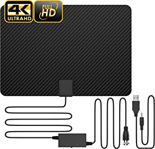 Updated 2019 Version Professional Carbon Fibre 65-120 Miles TV Antenna, Indoor TV Digital HD Antenna 4K HD Freeview Life Local Channels All Type Television Switch Amplifier Signal Booster