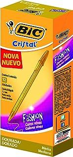 Caneta Cristal Fashion BIC, Ouro, pacote de 12