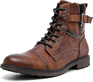 AMAPO Men's Motorcycle Combat Oxford Ankle Boots