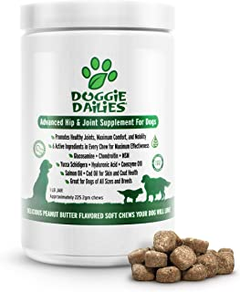 Doggie Dailies Glucosamine for Dogs, 225 Soft Chews, Advanced Hip and Joint Supplement for Dogs with Glucosamine, Chondroi...