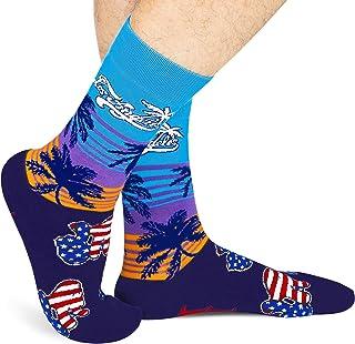 Travel Series CrewSocks Men, Novelty Fashion City Theme Mid Calf Socks Hometown Lovers Gift