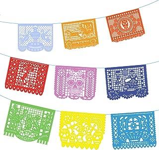 Unomor Paper Papel Picado Banner For Day Of The Dead, 14.8 Feet Dia De Los Muertos Mexican Party Decorations