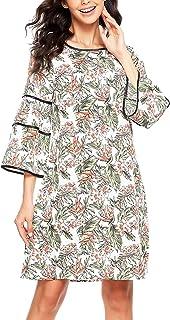 Zeagoo فستان كاجوال صيفي للنساء مطبوع عليه زهور مكشكشة وبأكمام 3/4 أكمام رائعتين