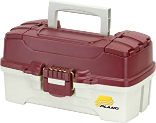 Plano 1-Tray Tackle Box with Dual Top Access, Red Metallic/Off White, Premium Tackle Storage