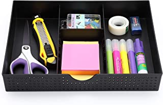 CAXXA 3 Slot Drawer Organizer with Two Adjustable Dividers - Junk Drawer Storage for Office Desk Supplies and Accessories, Black (1 Pack)