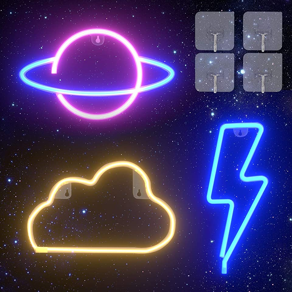 Neon Light Sign - Vajeme 3 Pack LED Sign for Bedroom - Room Decor Sign with Hooks, LED Lightning+Cloud+Planet Shaped for Wall Hanging with USB/Battery Powered, Neon Bar Sign for Kids Room Party Gifts