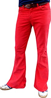 Fuzzdandy Uomo Bell Pantaloni a Zampa Rosso Velluto Pantaloni Svasato Pantaloni Jeans Retro