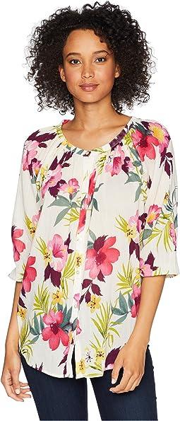 Tropical Floral-Print Cotton Top
