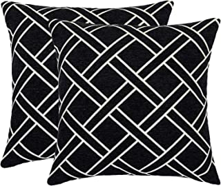 DECOMALL Super Soft Decorative Square Throw Pillow Covers Moroccan Geometric Trellis Cushion Cases Set for Couch Sofa Bedroom, 18 x18 inches, Black, Pack of 2