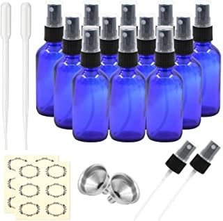 Pack of 12, 2 oz Cobalt Blue Glass Spray Bottles with Black Fine Mist Sprayers by Mavogel,Including 2 Extra Black Fine Mist Sprayers, 2 Stainless Steel Mini Funnel, 2 Transfer Pipettes, 12 Labels
