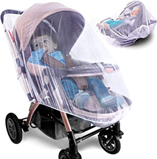 Mosquito Net for Stroller - 2 Pack Durable Baby Stroller Mosquito Net - Perfect Bug Net for Strollers, Bassinets, Cradles, Playards, Pack N Plays and Portable Mini Crib (White)
