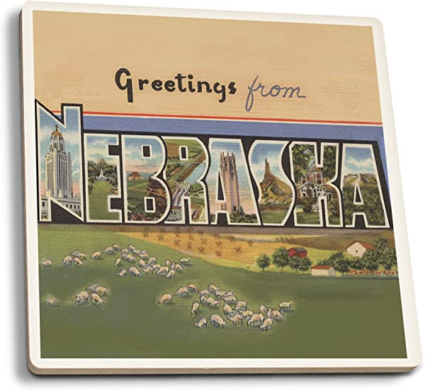 Lantern Press Greetings From Nebraska Set Of 4 Ceramic Coasters Cork Backed Absorbent