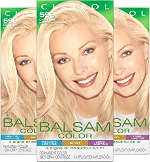 Clairol Balsam Permanent Hair Color, 599 Ultra Light Natural Blonde, 3 Count