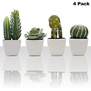 Plantes Artificielles Lot De 4 Mini Cactus Artificiel Et