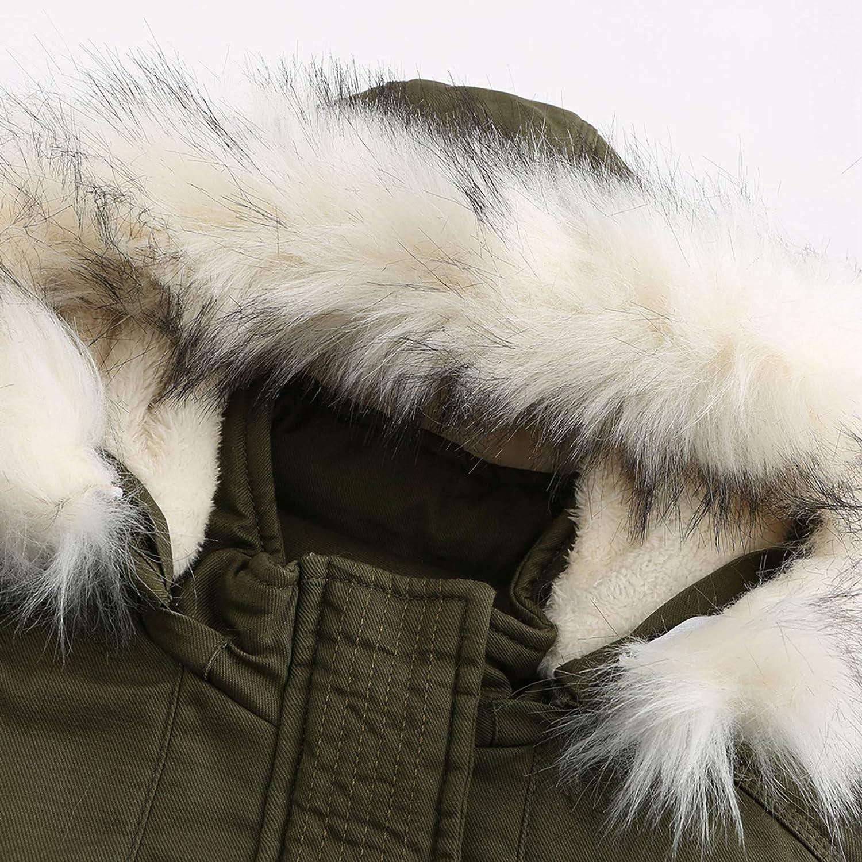 DAIFINEY Damen Mantel Jacke Parka Winterparka mit Kapuze warm gefüttert Wintermantel Winterjacke Winter Coat Outwear 3-grün/Army Green