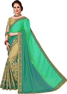 Women's Satin Heavy-Embroidery Work With Blouse Pice Saree K784
