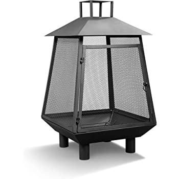 Hanie Design BFP-25 Lighthouse Outdoor Fireplace, Black