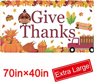 Give Thanks Banner - Extra Large Fabric 70