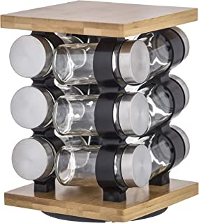 Davis & Waddell Romano Spice Jar Set with Rack 12pce, Natural/clear/silver, DES0303