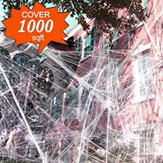 1000 sqft Halloween Spider Web Decorations, VIRIITA Super Stretch Fake Spider Webs, White Webbing Spooky Cobwebs Halloween Supplies for Halloween Party Decorations Bar Haunted House