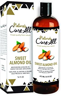 Sweet Almond Oil Organic For Skin & Hair (16oz), Unrefined, Cold-Pressed Skincare | Moisturized Skin, Nourished Hair Fight Dryness, Cracked Heels, Anti-Aging, Anti-Wrinkle & Baby Massage Oil