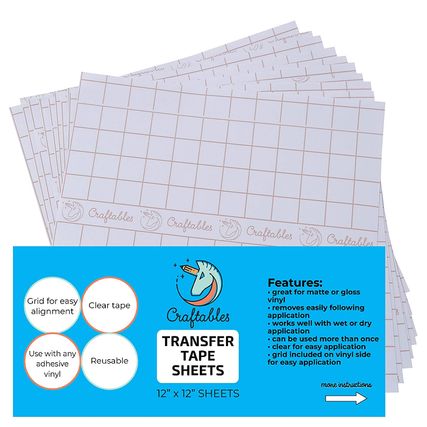 Craftables Clear Vinyl Tranfser Paper Tape Sheets w/Alignment Grid and Easy Release Paper | 12