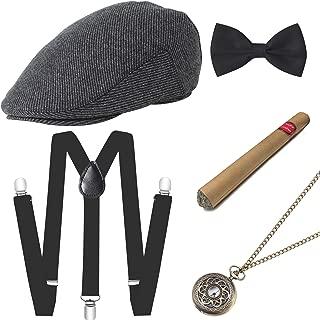 1920s Mens Gatsby Gangster Costume Accessories Set 30s Manhattan Fedora Hat Suspenders