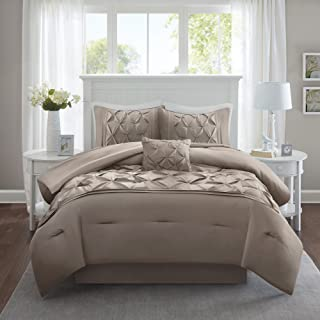 Comfort Spaces Cavoy Ultra Soft Hypoallergenic Microfiber Tufted Pattern 5 Piece Comforter Set Bedding, King, Taupe