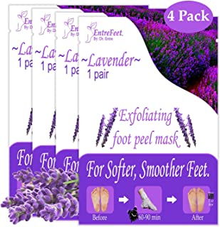 Dr. Entre's Foot Peel Mask | 4 Lavender Pairs | Baby Soft Feet in Just 7 Days, Exfoliating Callus Remover