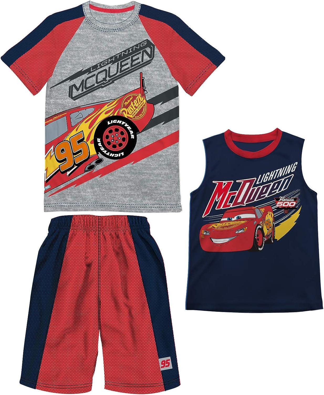Disney boys Boys Cars Lightning Mcqueen Gray Heather 3 Piece T-shirt Tank Top Short Set