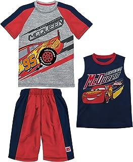Disney Boys Cars Lightning McQueen Gray Heather 3 Piece T-Shirt Tank Top Short Set