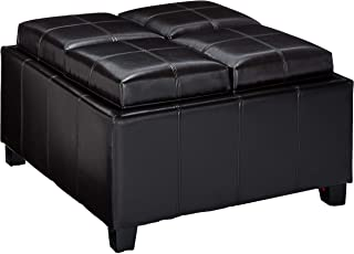 leather espresso tray top storage ottoman