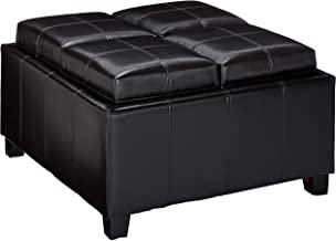Christopher Knight Home Harley Leather Espresso Tray Top Storage Ottoman, Brown