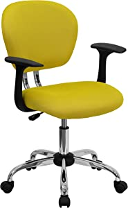 Flash Furniture Mid-Back Yellow Mesh Padded Swivel Task Office Chair with Chrome Base and Arms