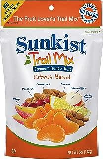 Sunkist Real Fruit Trail Mix Citrus Blend, 5 Ounce Resealable Bags (8 pack) Mandarins, Lemon Apples, Lemon Almonds, Cranberries, Mango, Almonds Premium Nuts, Crunchy, Sweet, Salty, Dried