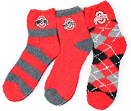 NCAA Ohio State Buckeyes 3 Piece Fuzzy Sock Bundle, Multicolor, One Size Fits Most