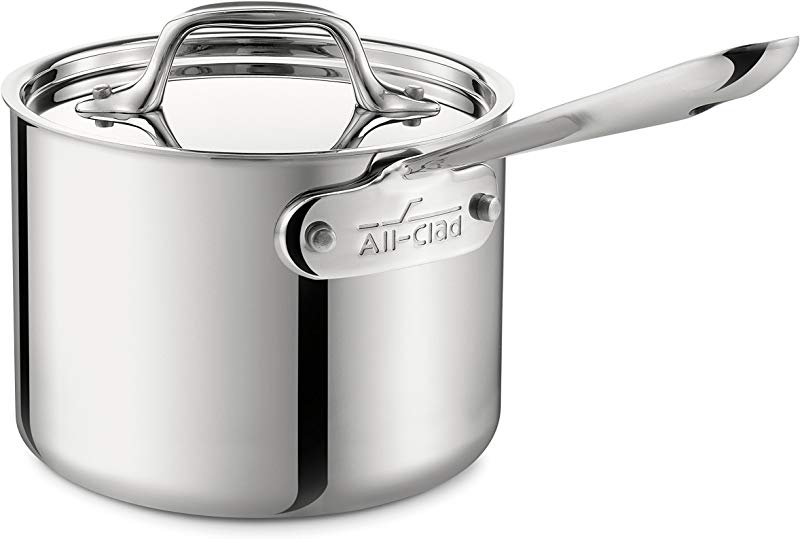 All Clad 4202 Stainless Steel Sauce Pan With Lid Cookware 2 Quart Silver