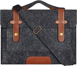 MOSISO Laptop Shoulder Bag Compatible with 13-13.3 inch MacBook Pro, MacBook Air, Notebook Computer, Felt Slim Briefcase Sleeve Carrying Case Cover, Black