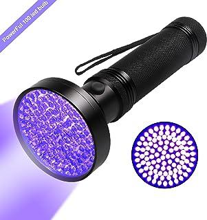 Linterna UV, luz negra UV 100 LED ultravioleta Detector de luz negra para orina de