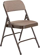 (4 Pack) NPS 2200 Series Deluxe Fabric Upholstered Double Hinge Premium Folding Chair, Russet Walnut