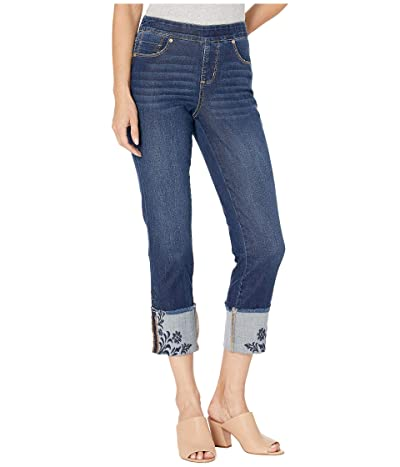 Jag Jeans Lewis Straight Pull-On Jeans w/ Embroidered Cuff in Harbor (Harbor) Women