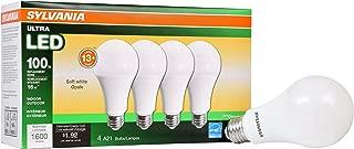 SYLVANIA General Lighting 73188 Sylvania Dimmable Led Light Bulb, 16 W, 120 V, 1600 Lumens, 2700 K, CRI 80, 2-5/8 in Dia X 5.15 in L, Soft White, 4 Piece
