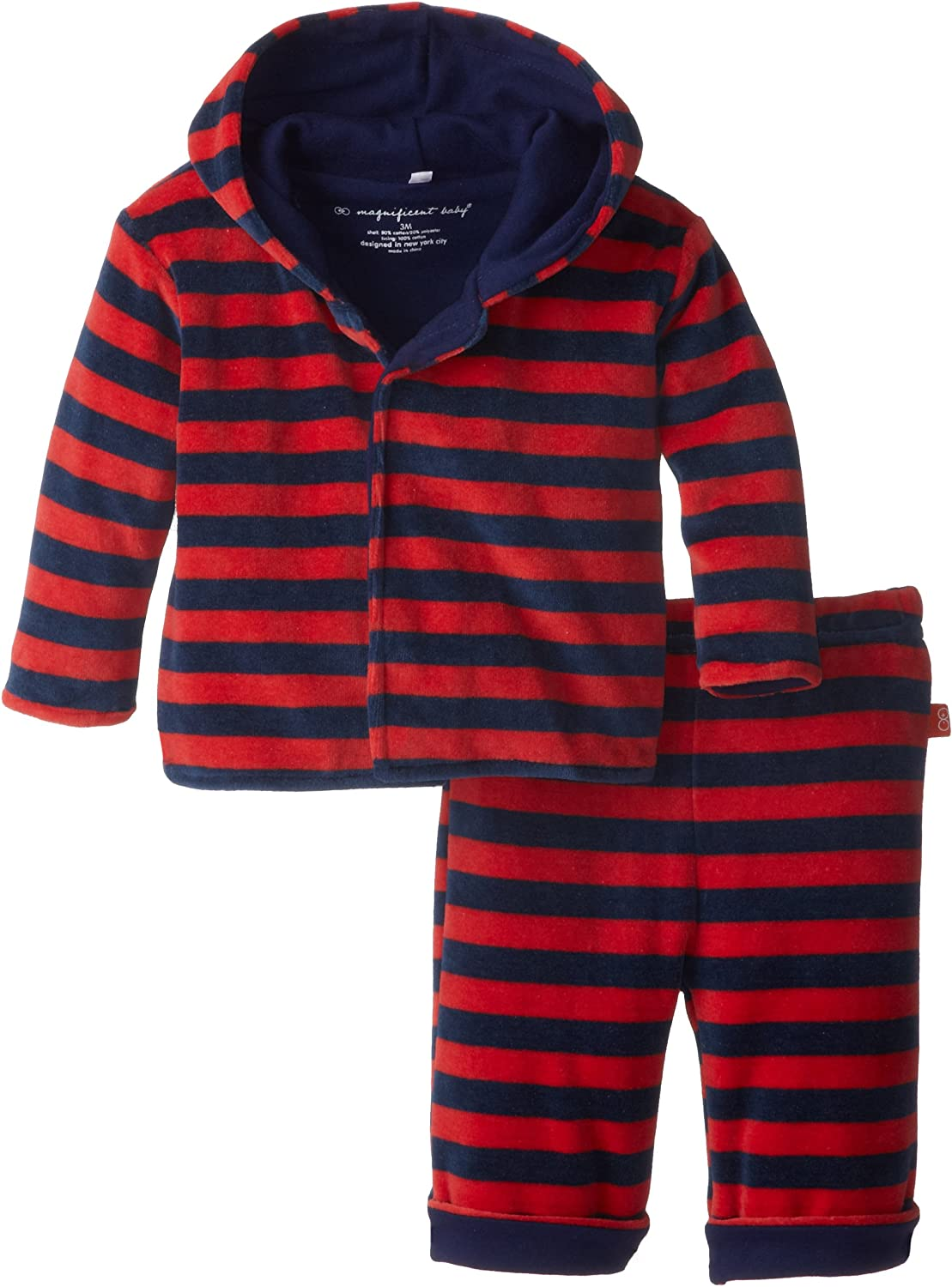 Magnificent Baby Baby Boys' Red Navy Velour Hoodie and Pants