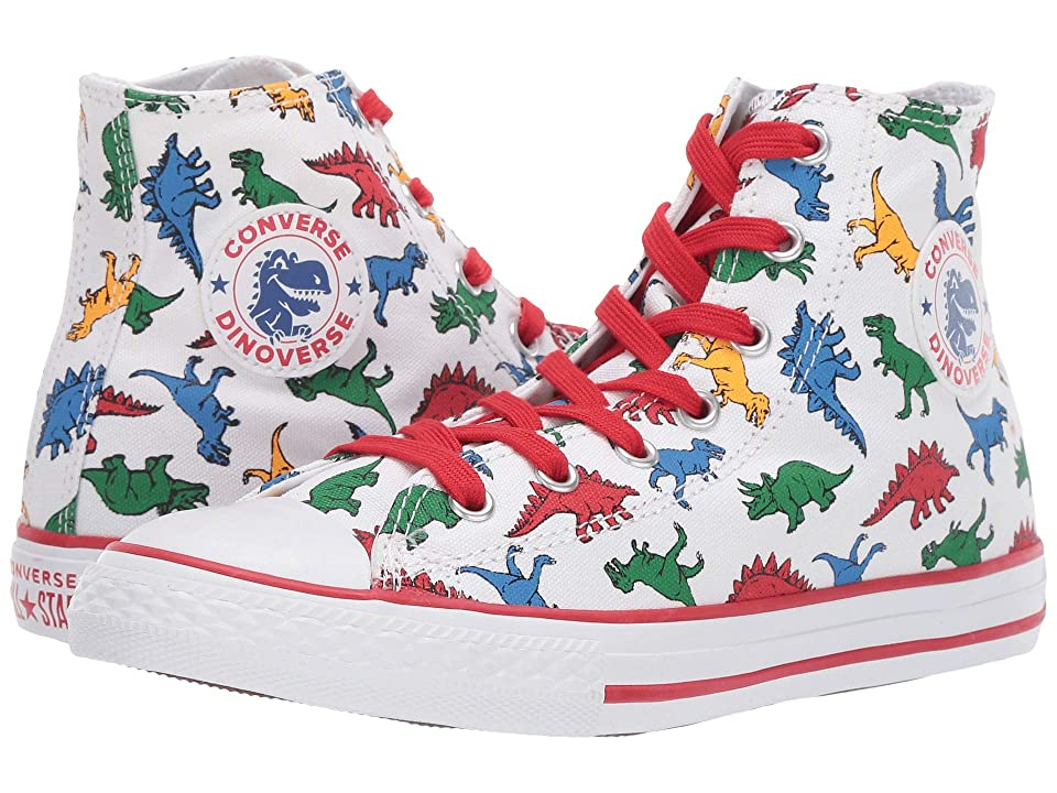 Converse Kids Chuck Taylor All Star(r) Dinoverse Hi (Little Kid/Big Kid) (White/Enamel Red/Totally Blue) Boy