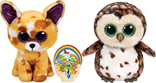 Ty Beanie Boos Owl SAMMY and Chihuahua Dog PABLO Unusual Friends Gift set of 2 Plush Toys 6-8 inches tall with Bonus Animals Sticker