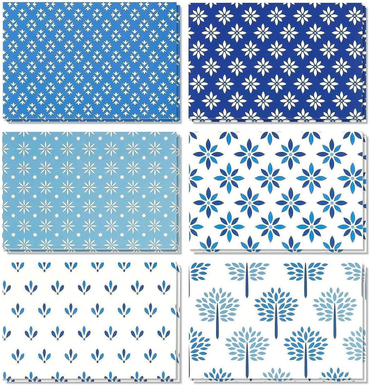 48 Pack Blank Greeting Superlatite Note Card Fol Ranking TOP6 Bulk Blue of Shades Floral