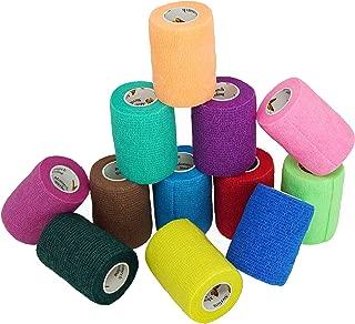 Elasti-Wrap 3 Inch Breathable, Self-Adherent, Self Adhesive Cohesive Bandage Vet Wrap Assorted Colors (6, 12, 18 & 24 Packs),