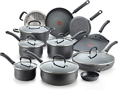 T-fal E765SH Ultimate Hard Anodized Nonstick 17 Piece Cookware Set, Black