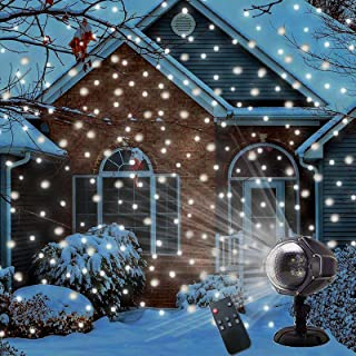 LED Snowfall Projector Lights Christmas Snowflake Projector Lamp with Wireless Remote Indoor Outdoor Waterproof Snow Falli...